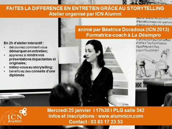 Atelier storytelling à destination des étudiants